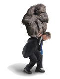 Monkey on Your Back Drug Addiction Financial Burden. A man with a big chimp monkey on his back representing drug addiction, financial money problems and stress stock photos