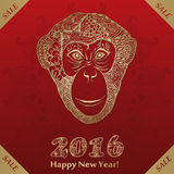 Monkey zentangle New Year 2016. Vector illustration royalty free illustration