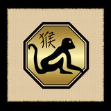 Monkey zodiac icon. Isolated on background vector illustration
