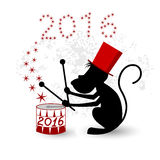 Monkey, zodiac symbol 2016. Magic monkey in a red hat playing drum Stock Image
