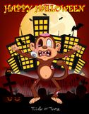 Monkey zombie with city background for happy halloween vector illustration Stock Photos