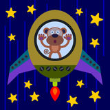 Monkeying in space. Illustration of a monkey riding a rocket in space Royalty Free Stock Photos