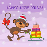 Monkeynew. Happy New Year illustration with cute monkey and holiday gifts. Card design stock illustration