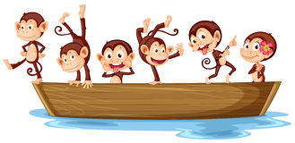 Monkeys and boat Royalty Free Stock Photography