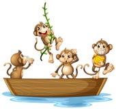 Monkeys on boat. Illustration of many monkeys on a boat Royalty Free Stock Image