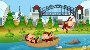 Monkeys in boat scene. Illustration vector illustration