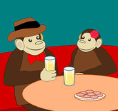 Monkeys at Cafeteria Stock Photography