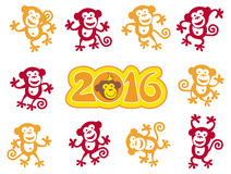 2016 monkeys. Cartoon monkeys dancing vector design 2016 Stock Images