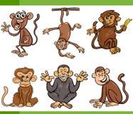 Monkeys cartoon set illustration Royalty Free Stock Photography