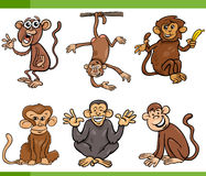 Monkeys cartoon set illustration Royalty Free Stock Photography