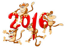 Monkeys. Cartoon sign 2016 with few monkeys at it Royalty Free Stock Photo