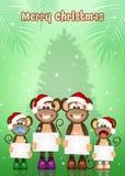 Monkeys celebrate Christmas Stock Photography