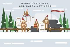 Monkeys are celebrating a Christmas and Happy New Year 2016. And hold their gift box on snow mountain. Flat design for greeting cards, invitation, calendar Royalty Free Stock Photo