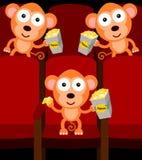 Monkeys in cinema. An illustration of monkeys inside a cinema and eating popcorn Stock Image