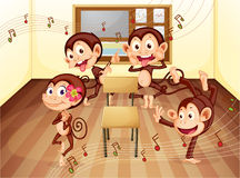Monkeys in classroom Royalty Free Stock Photo