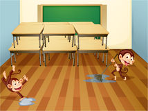 Monkeys cleaning classroom Royalty Free Stock Photography
