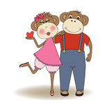 Monkeys couple in love Stock Images