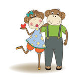 Monkeys couple in love Royalty Free Stock Photography