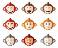 Monkeys, different emotions colored icons. Stock Images