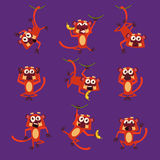 Monkeys in Different Poses, Vector Illustrations Royalty Free Stock Photography