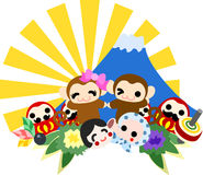 Monkeys and the first sunrise of a new year. Pretty monkey reaching the first sunrise of a new year royalty free illustration