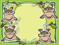Monkeys and fruits background Stock Image