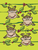 Monkeys fruits and leaves Royalty Free Stock Photo