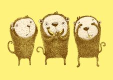 3 monkeys, Hear no evil, See no evil, Speak no evil stock illustration