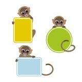 Monkeys Holding Colorful Frames. Cute Cartoon Little Brown Monkeys Holding Colorful Frames. 2016 Chinese New Year Symbol. Flat Vector Illustration Stock Image