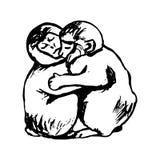 Monkeys hug (graphics) Stock Images