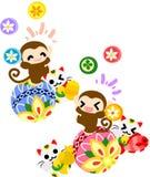 Monkeys and new Year celebration. Pretty monkeys celebrating New Year stock illustration