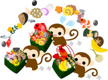 Monkeys and New Year dishes. Pretty monkeys carrying luxurious New Year dishes vector illustration