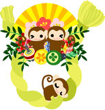 Monkeys and New Year wreath. Pretty monkeys and luxurious New year wreath stock illustration