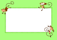 Monkeys page. Green frame with happy jumping monkeys vector illustration