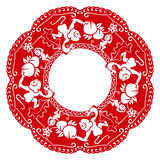 Monkeys and peach. Papercut frame with monkeys and peach in chinese style Royalty Free Stock Photo