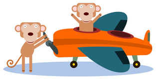Monkeys and plane Stock Images