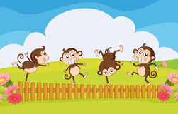 Monkeys playing in the garden stock illustration