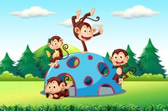 Monkeys playing on playground. Illustration stock illustration
