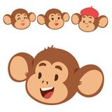 Monkeys rare animal vector cartoon macaque head like people nature primate character wild zoo ape chimpanzee. Illustration. Wildlife jungle monkey animal Stock Images