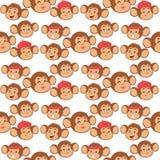 Monkeys rare animal vector cartoon macaque like people nature primate character wild zoo ape chimpanzee seamless pattern. Monkeys rare animal vector cartoon Stock Image