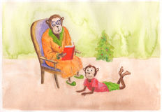 Watercolor Monkeys Happy New Year card. Watercolor illustration for new year Royalty Free Illustration
