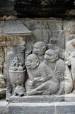 Monkeys relief on prambanan temple yogyakarta central java indonesia Stock Image