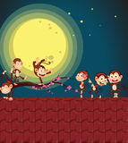 Monkeys on roof. Illustration of monkeys playing on a roof Royalty Free Stock Photo