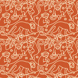 Monkeys seamless pattern. Vector seamless pattern with monkeys sitting on liana stock illustration