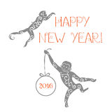 Monkeys silhouettes card. Vector illustration with monkeys  in different stance. Symbols of 2016 Chinese New Year Stock Photography