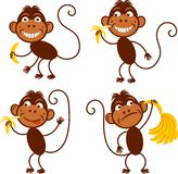 4 Monkeys simple. Set of cute funny monkeys with bananas. The Year of  Monkey. Chinese zodiac. New year symbol 2016. Design elements for new year cards, tickets Stock Photos