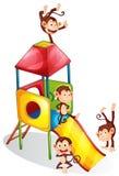 Monkeys and slide. Illustration of many monkeys on a slide Stock Photo