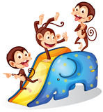 Monkeys and slide. Illustration of many monkeys on a slide Royalty Free Stock Photography