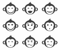 Monkeys, smiley, small, icon, monochrome. Nine monochrome, concise icons monkeys. Different emotions Stock Images