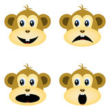 Monkeys, smiley, smileys. Different emotions. Stock Images